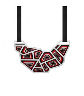 Unique laser cut necklace in red and white | Hauterent